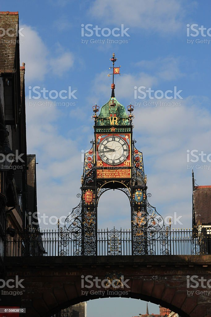 Victorian clock tower in Chester, UK stock photo