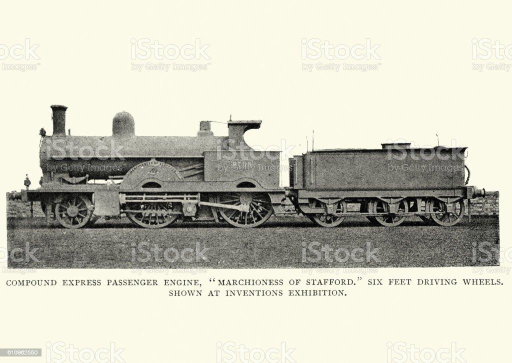 Victorian Compund Expess Passenger Train, 1892 stock photo