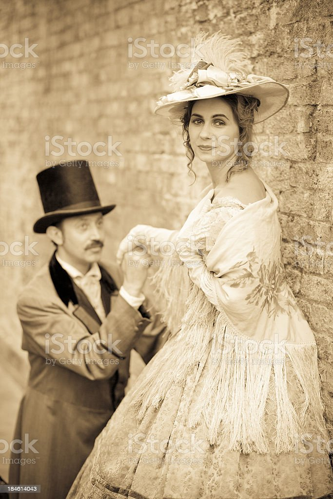 Victorian Couple courting royalty-free stock photo