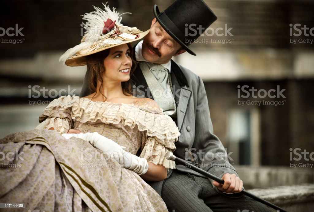Victorian couple in love having a good time together stock photo