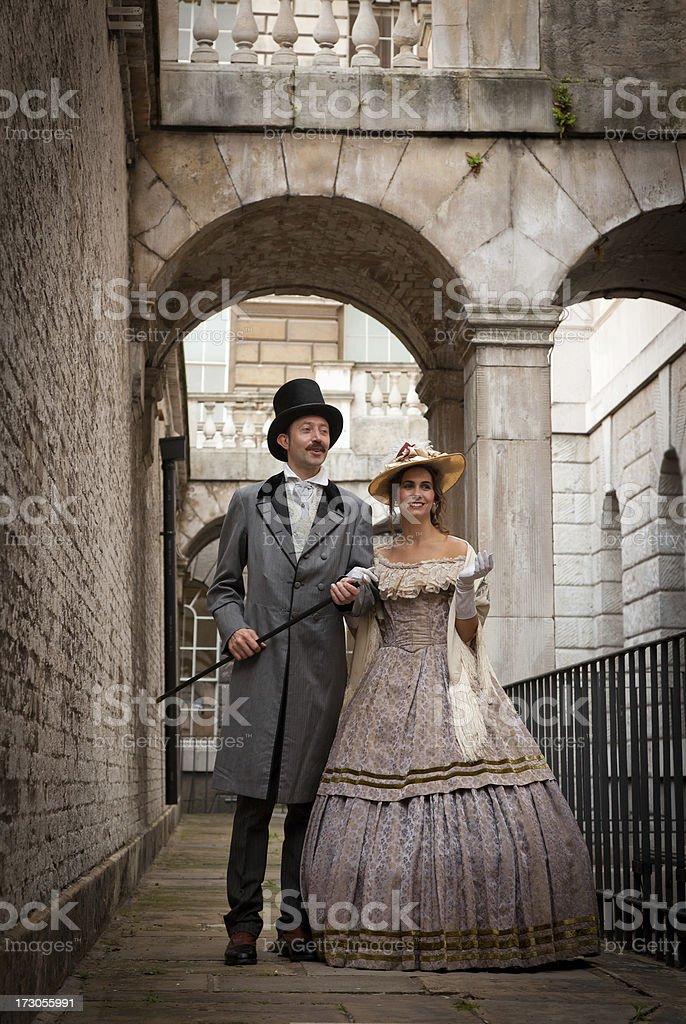 Victorian Couple walking royalty-free stock photo