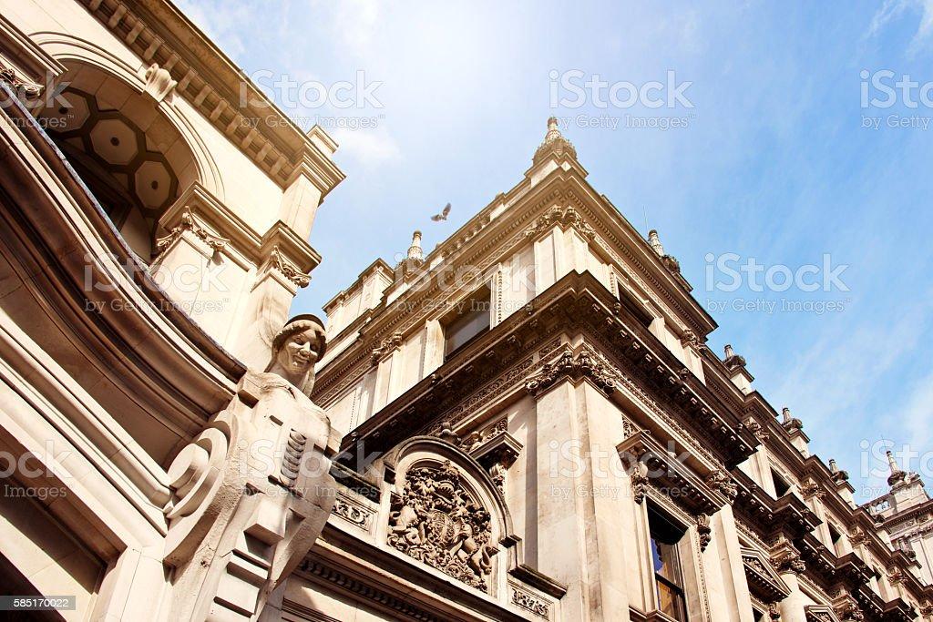 Victorian English Stonework Facade, Piccadilly Circus, London stock photo