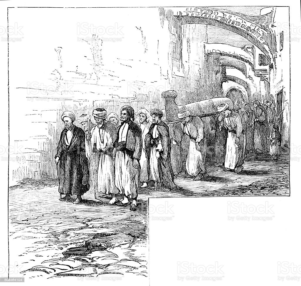 Victorian engraving funeral procession in middle east from 1880 journal stock photo