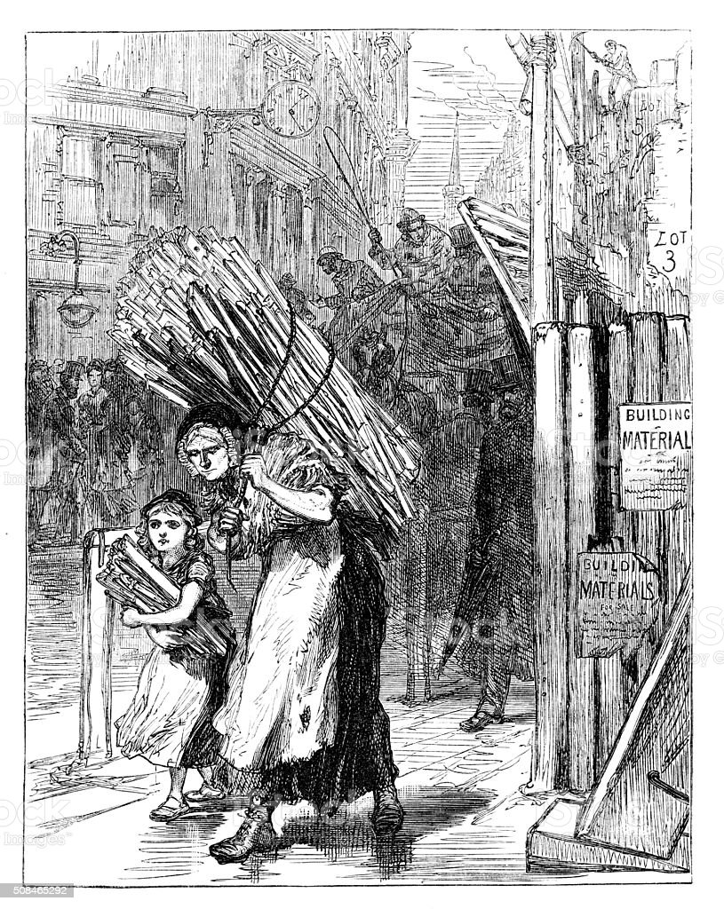 Victorian engraving gleaners collecting wood London from 1880 journal stock photo