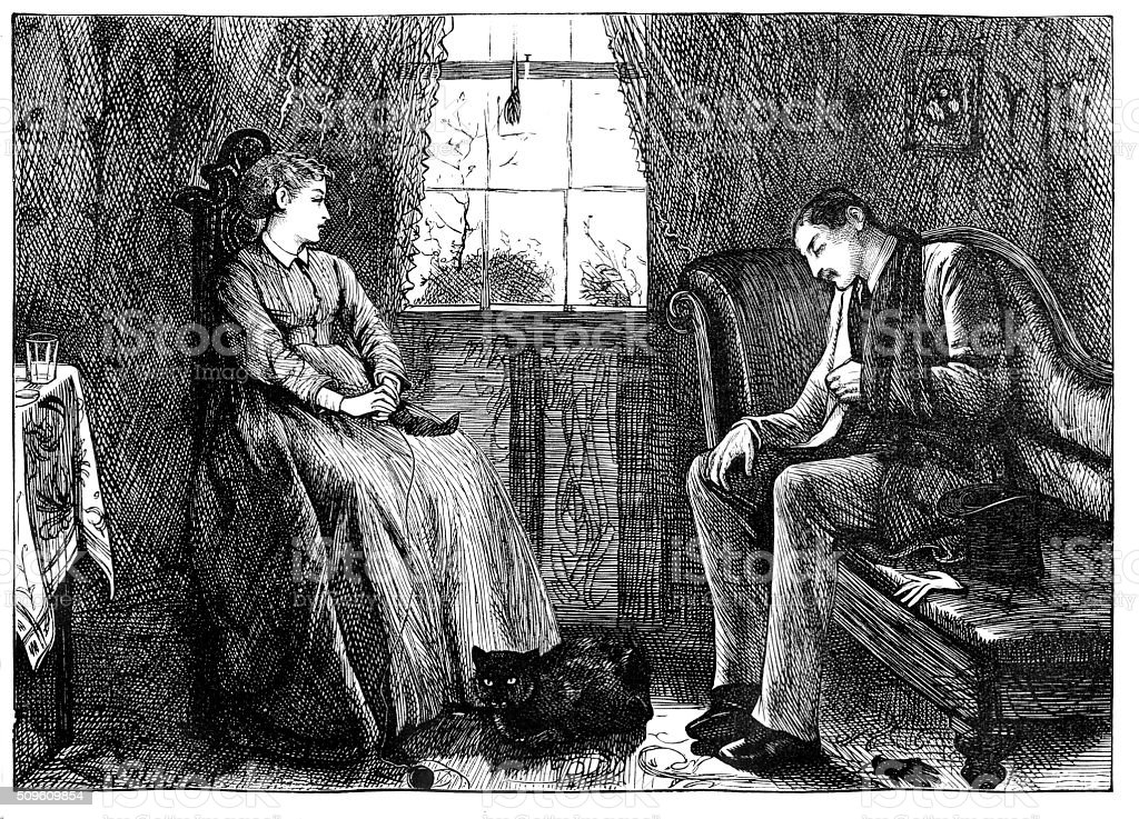 Victorian engraving man and woman seated indoors  from 1870 journal stock photo