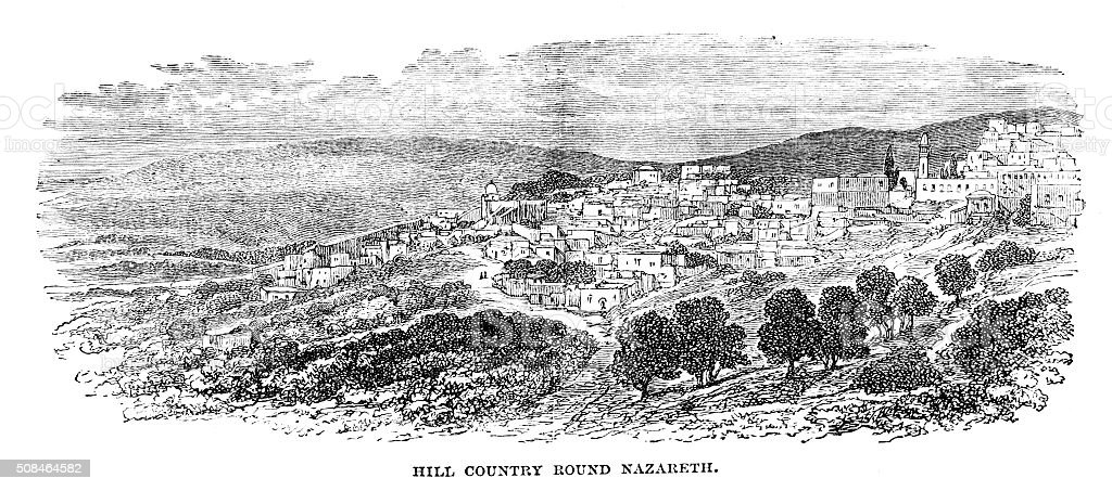 Victorian engraving Nazareth Israel/Palestine in the hills  from 1880 journal stock photo