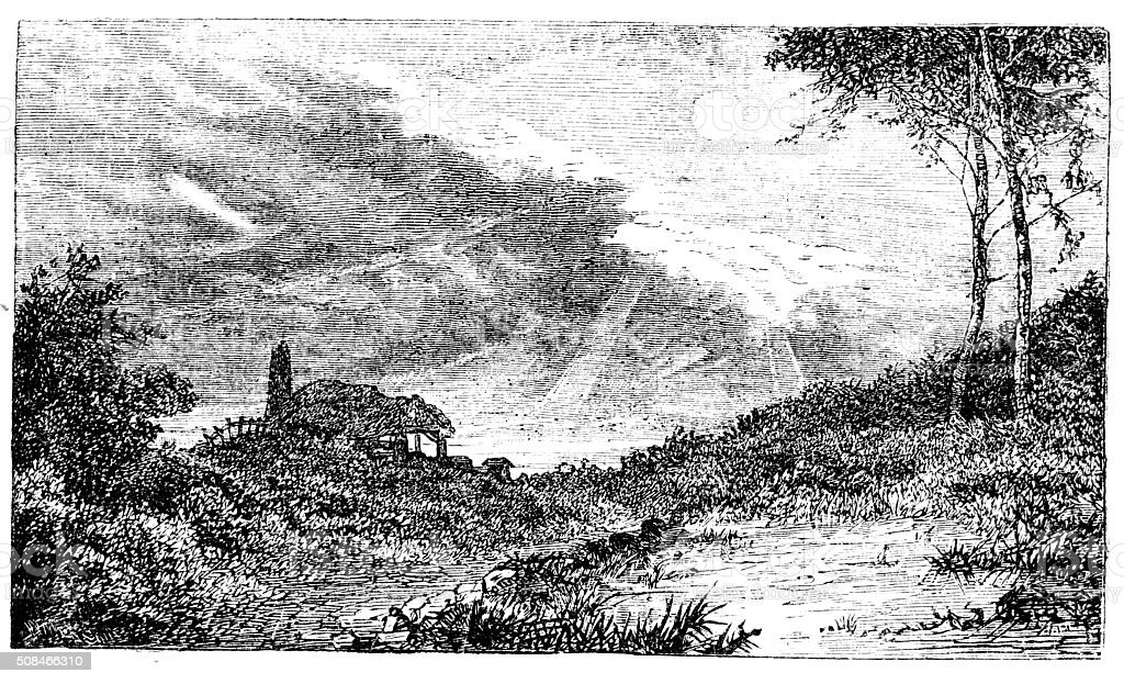 Victorian engraving scenes of countryside in sunshine from 1880 journal stock photo