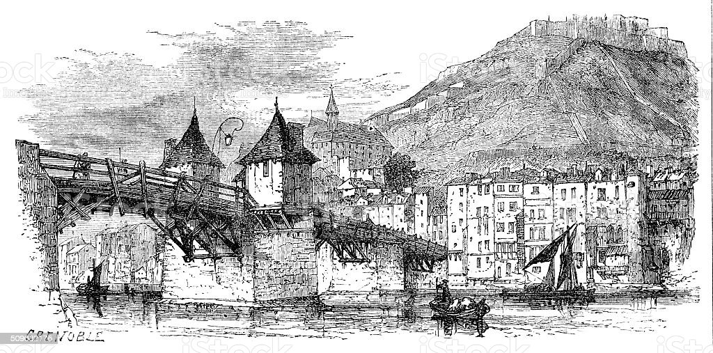 Victorian engraving the Grenoble France Europe from 1880 journal stock photo