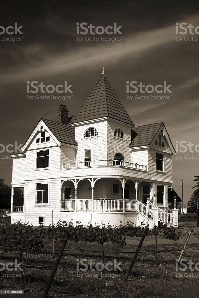 Victorian Farm house in Sepia stock photo