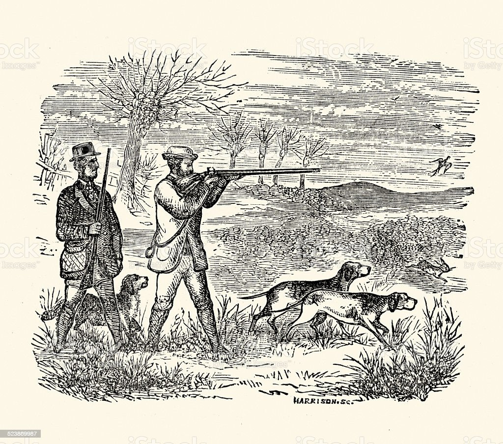 Victorian Game Hunting with Dog and Gun vector art illustration