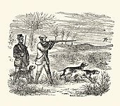 Victorian Game Hunting with Dog and Gun