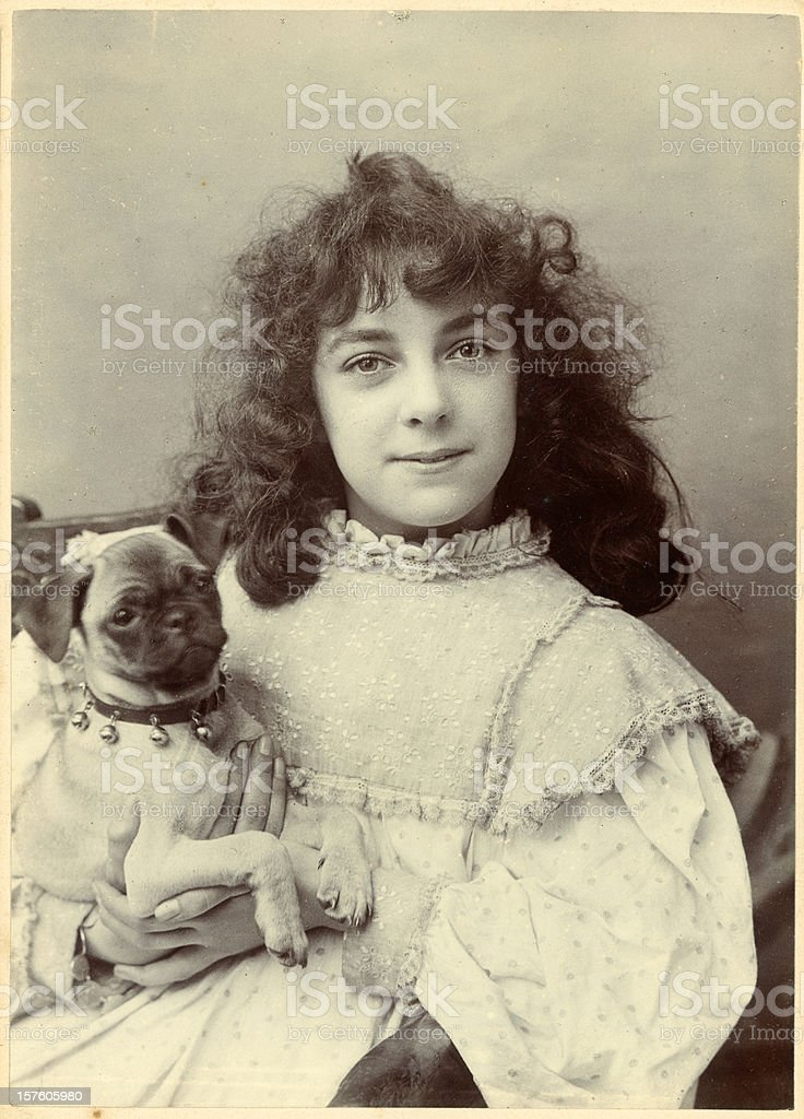 Victorian Girl and her Dog stock photo