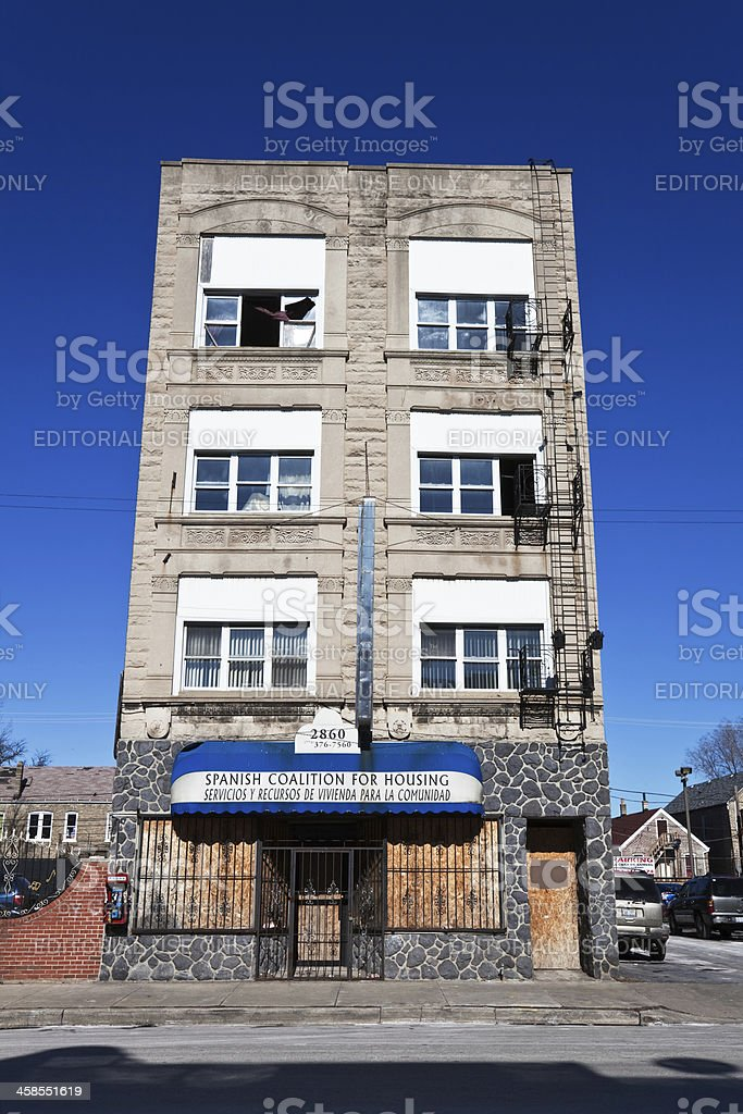 Victorian Greystone commercial building in South Lawndale, Chica stock photo