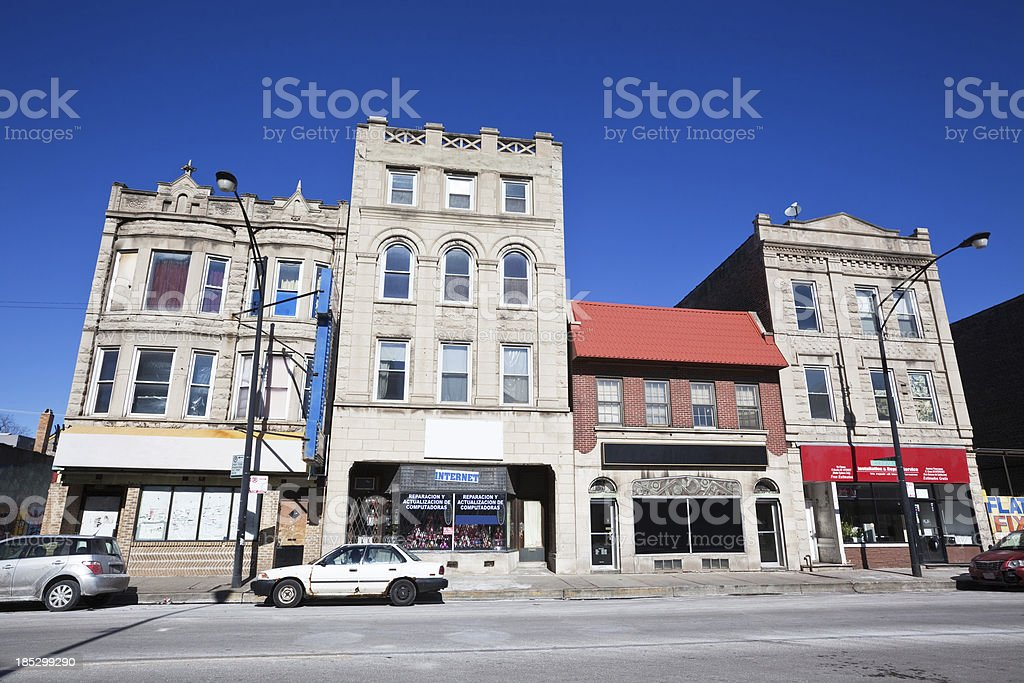 Victorian Greystone commercial buildings, South Lawndale, Chicago stock photo