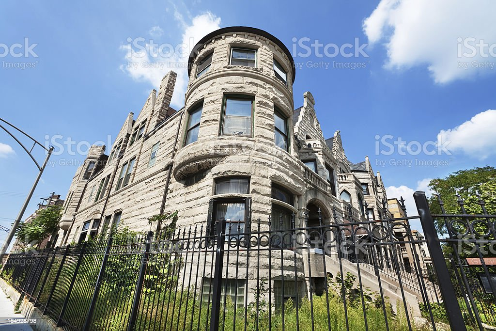Victorian Greystone Mansion in Grand Boulevard, Chicago stock photo