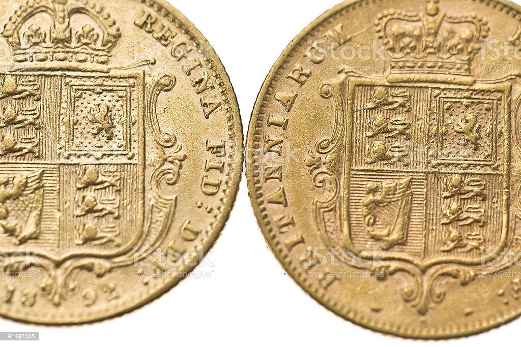 Victorian Half Sovereigns royalty-free stock photo