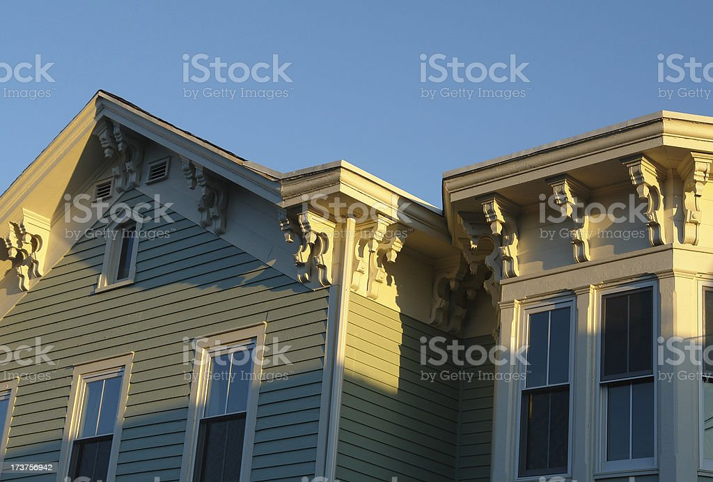 Victorian home at sunset stock photo