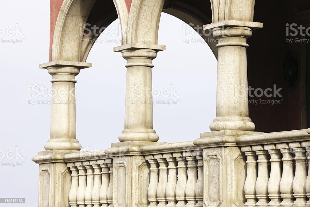 Victorian Home Porch Railing Pillar Architecture stock photo