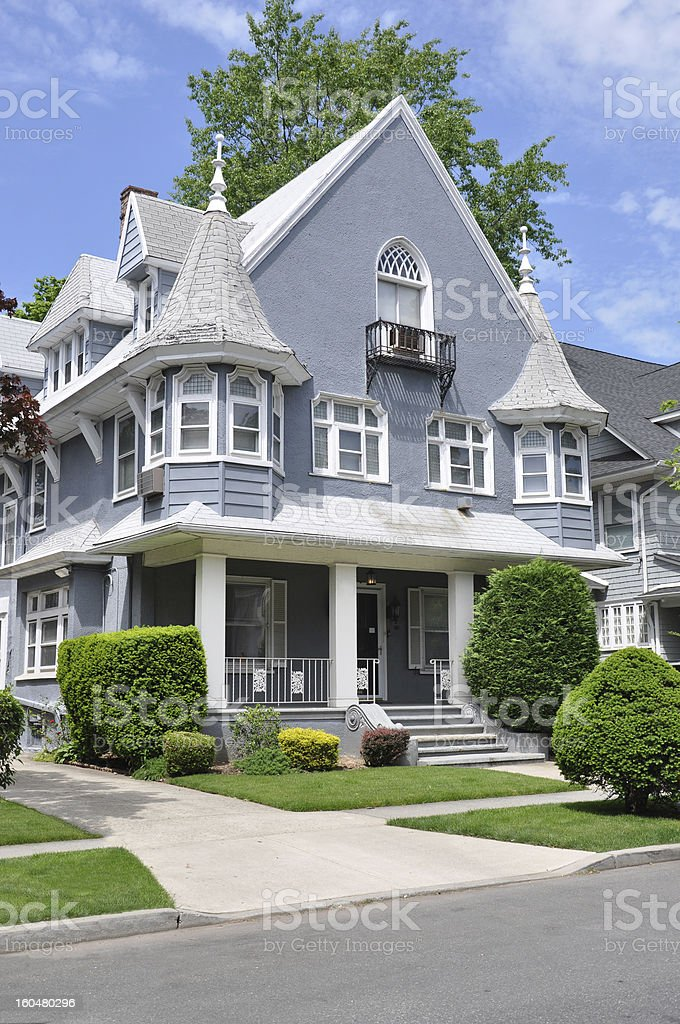Victorian Home Sunny Blue Sky Residential Neighborhood stock photo