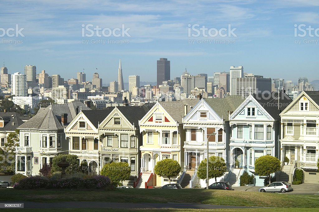 Victorian homes in San Francisco stock photo