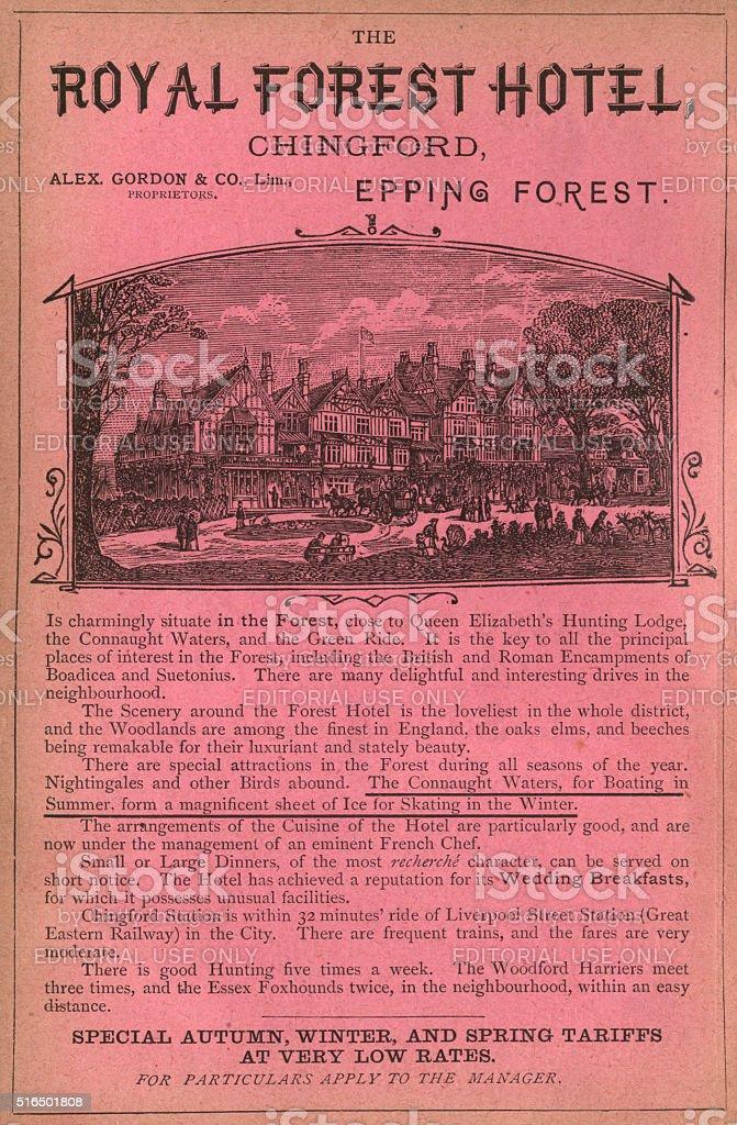 Victorian hotel advertisement stock photo