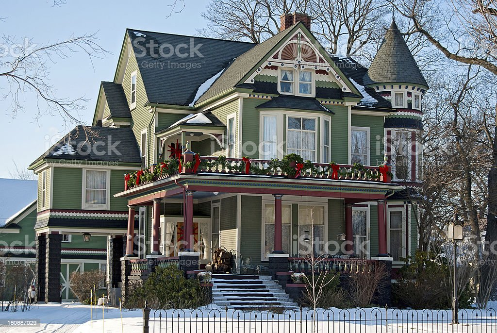 Victorian house at Christmas time stock photo
