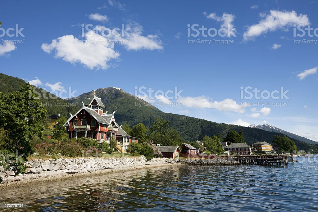 Victorian House by the Fjord royalty-free stock photo