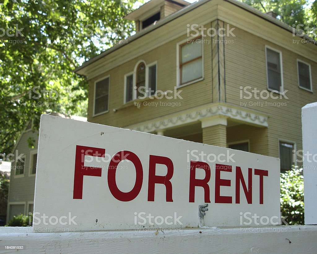 Victorian house for rent sign royalty-free stock photo