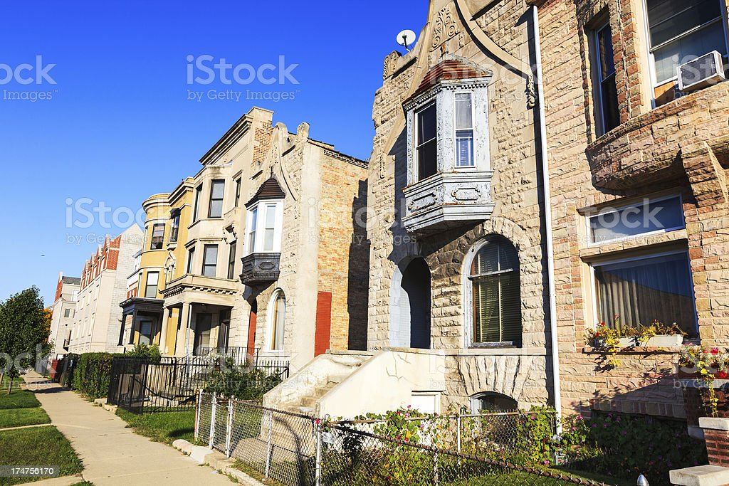 Victorian Houses, Grand Boulevard, South Side of Chicago stock photo