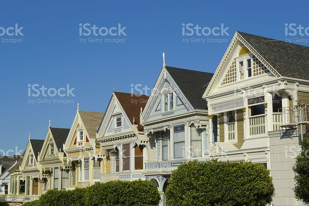 Victorian houses in Alamo Square royalty-free stock photo