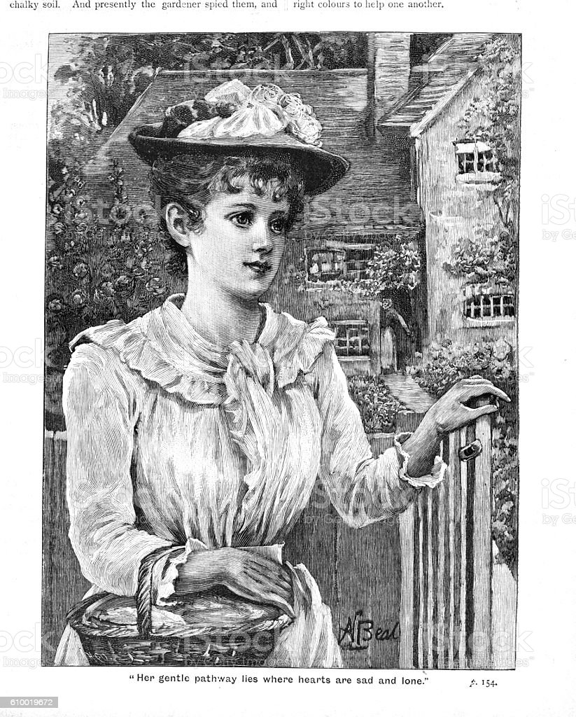 Victorian illustration attractive lady with basket at garden gate stock photo