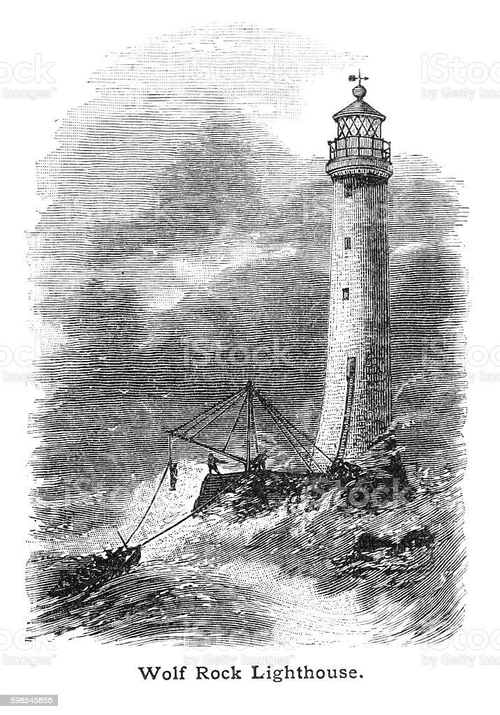 Victorian illustration landing on Wolf Rock lighthouse in  stormy seas stock photo