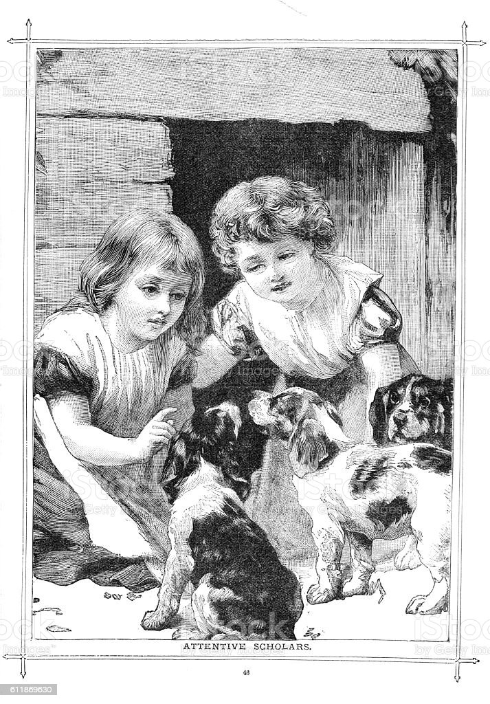 Victorian illustration two young girl with three attentive puppies stock photo