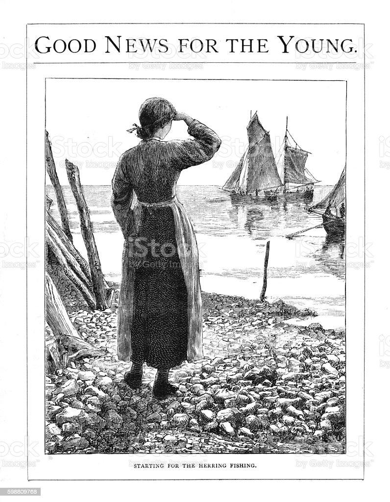 Victorian illustration young woman stood watching  herring fleet set sail stock photo