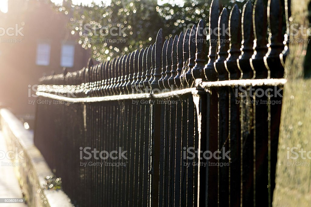 Victorian iron railings on a sunny day stock photo