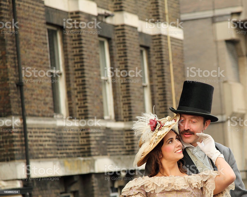 victorian lady flirts with gentleman stock photo