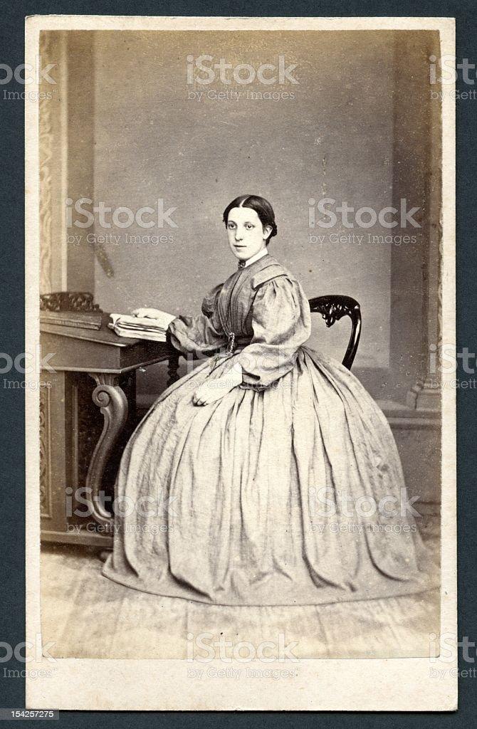 Victorian lady (with crinoline) stock photo