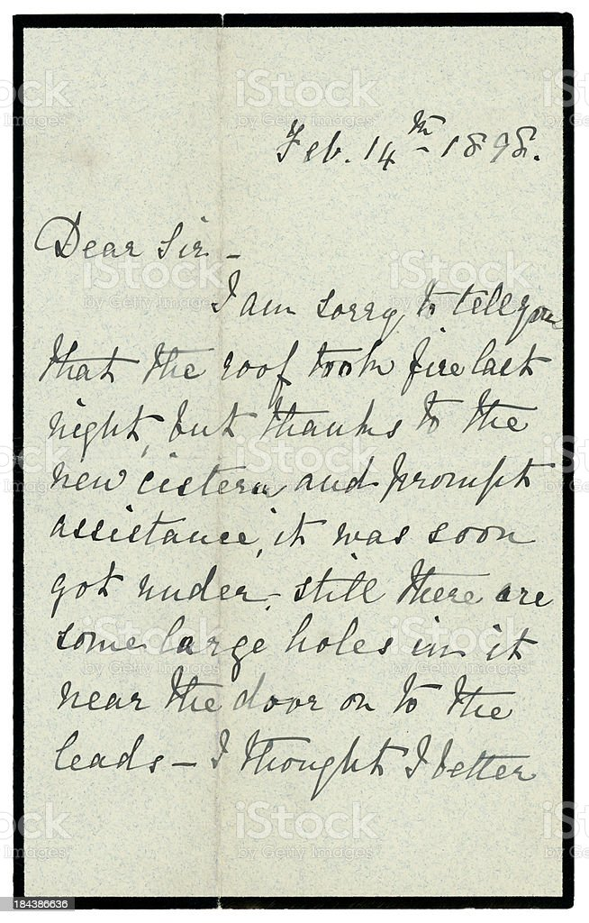 Victorian letter about a roof fire, 1898 royalty-free stock photo