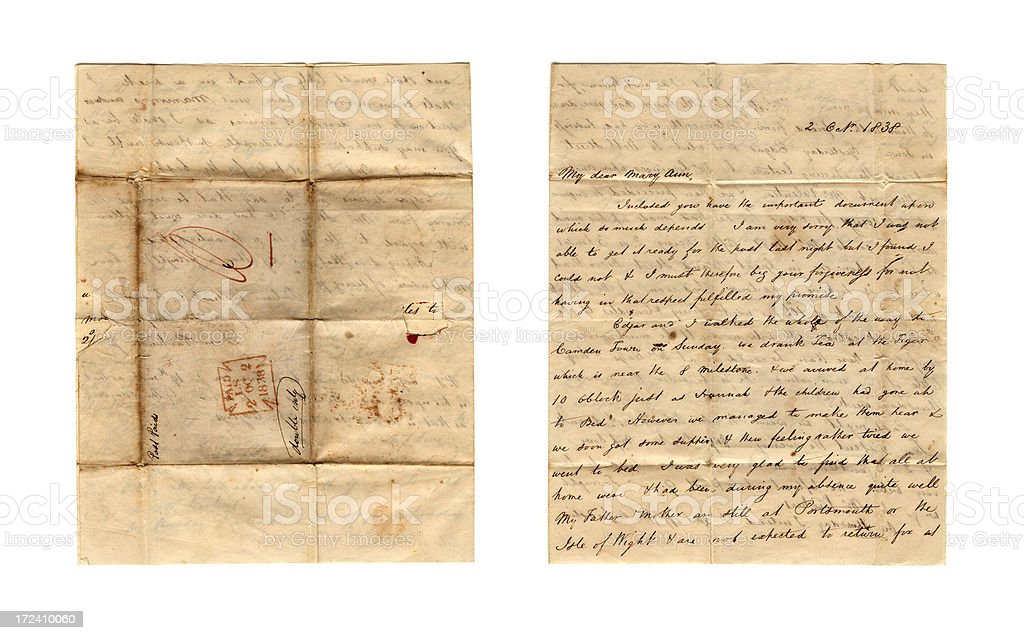 Victorian letter - front  and back stock photo