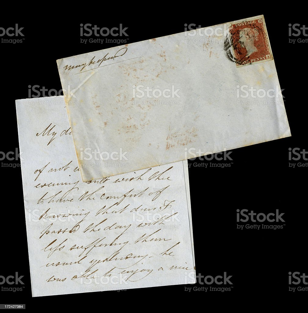Victorian letter with envelope royalty-free stock photo