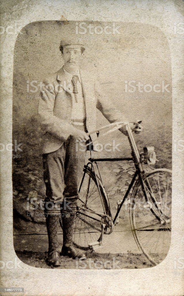 Victorian Lifestyle - Portrait of man with bicycle stock photo