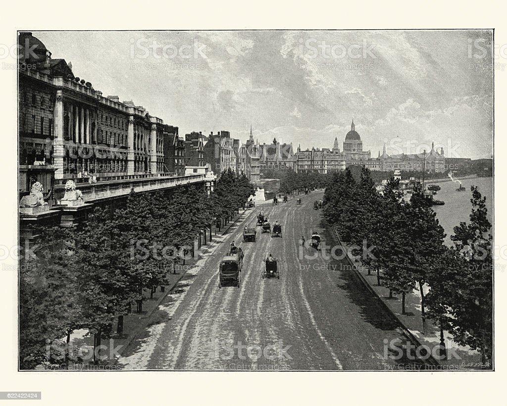 Victorian London, Victoria Embankment, from Waterloo Bridge, 189 stock photo