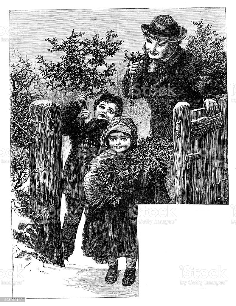 Victorian man and  2 children carrying holly  from 1880 journal stock photo