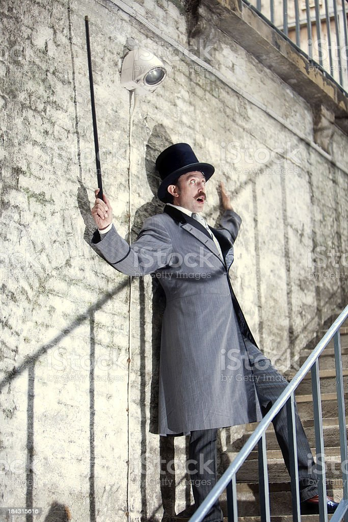 Victorian man getting zapped stock photo