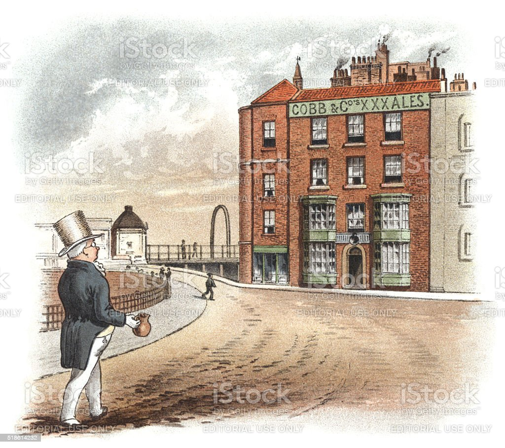 Victorian man going to a pub with a jug stock photo