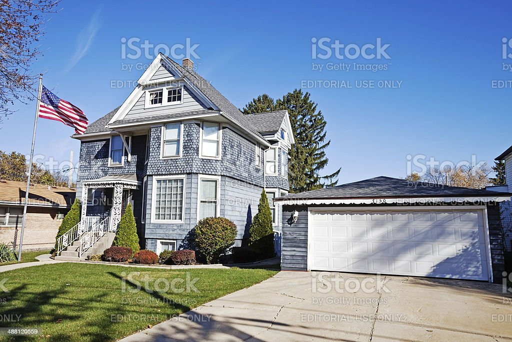 Victorian Mansion in Norwood Park, Chicago stock photo