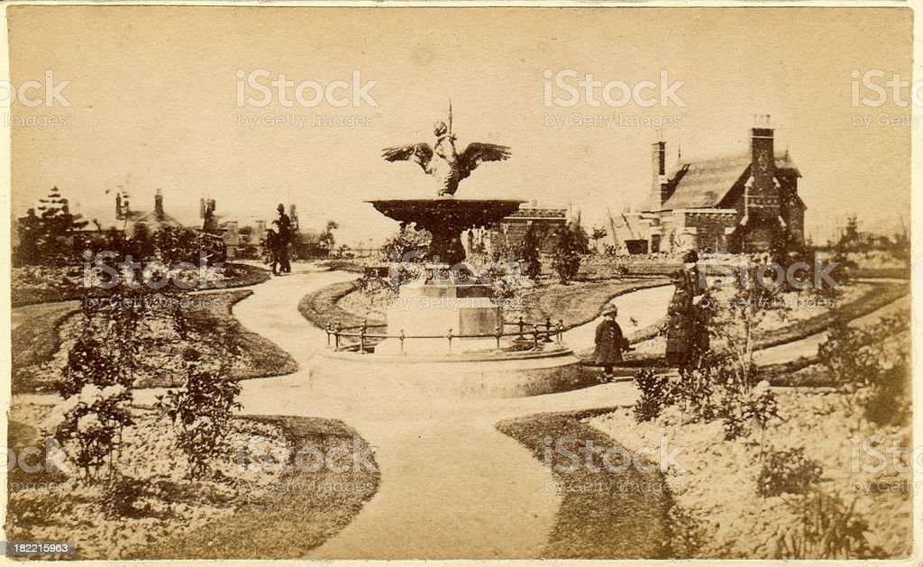 Victorian Old Photograph of a Public Park stock photo