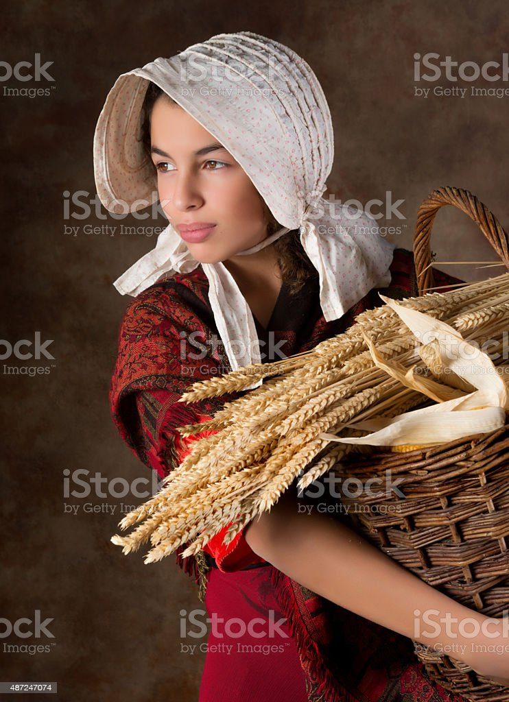 Victorian peasant girl stock photo