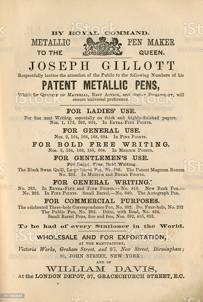 Victorian pens advertisement, 1865 stock photo