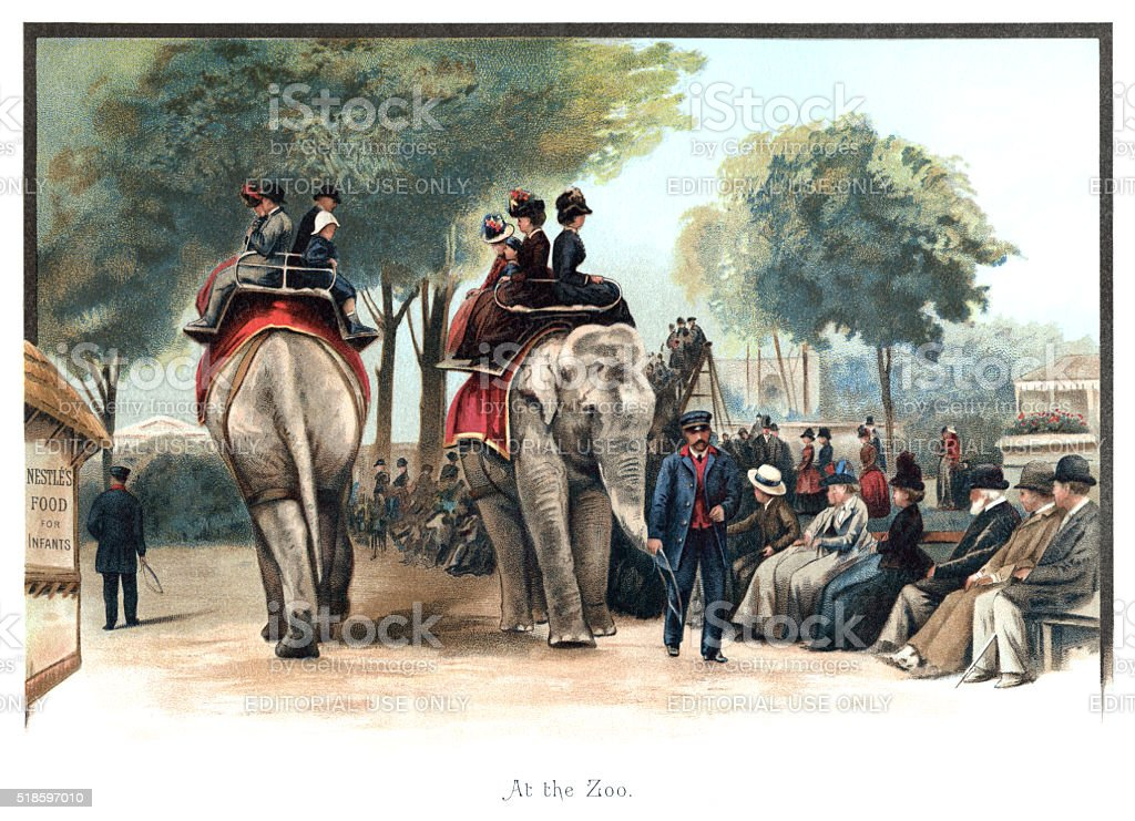 Victorian people riding elephants at London Zoo stock photo